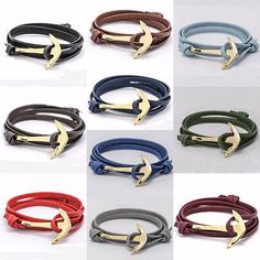 Unisex #jewelry multilayer  leather #bracelet with gold alloy #anchor,  View more on the LINK: 	http://www.zeppy.io/product/gb/2/131802973761/