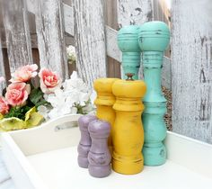 Colorful Shabby Chic Salt and Pepper Shakers by HuckleberryVntg