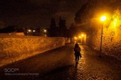 alone in the dark leny on her way to diner in Rome