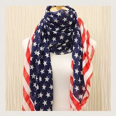 Anerican Flag Leightweight Scarf NWOT. American flag leightweight scarf. Pattern may vary. Accessories Scarves & Wraps