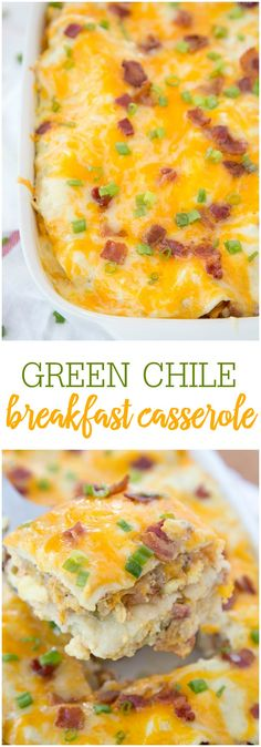 Green Chile Breakfast Enchilada Casserole - everything you love about enchiladas and breakfast casseroles in one recipe! Corn tortillas, eggs, sausage, bacon, green chili sauce, sour cream, and lots of cheese!! Definitely a crowd pleaser!