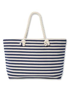 Club Monaco's nautical-inspired blue and white striped tote with rope handles ($99 at clubmonaco.com) will make you want to set sail.