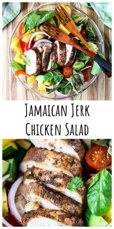 Grilled Jamaican Jerk Chicken Salad with grilled pineapple, crisp veggies and honey lime dressing. It's a perfect, simple summer meal and a delicious taste of the Caribbean. Jerk Chicken, Chicken Salad, Baked Chicken, Chicken Recipes, Clean Eating Salads, Healthy Salads, Simple Salads, Best Salad Recipes, Healthy Recipes