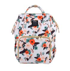 Floral Diaper Bag Backpack Mochila floral do saco da fralda Supplies Baby Tritte, Baby Girl Diaper Bags, Cute Diaper Bags, Baby Toys, Baby Girl Carseat Covers, Diaper Babies, Best Diaper Bag, Diy Baby, Mommy Backpack
