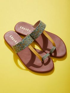 The Loom- An online Shop for Exclusive Handcrafted products comprising of Apparel, Sarees, Jewelry, Footwears & Home decor. Toe Ring Sandals, Shoes Flats Sandals, Toe Rings, Flat Sandals, Slide Sandals, Mens Summer Slippers, Summer Shoes, Leather Sandals Flat, Flat Shoes