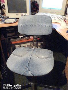 Office Chair goes Denim.  Upscale a bit with some padding.  #recycle #jeans