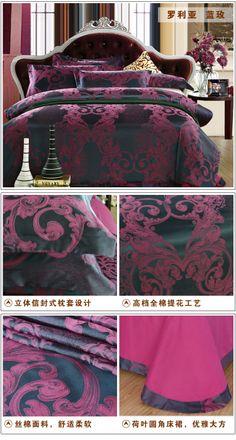 25 colors free shipping 100% cotton satin jacquard bedding set 2014 4pcs/set home textile King queen double size jacquard-inBedding Sets fro...