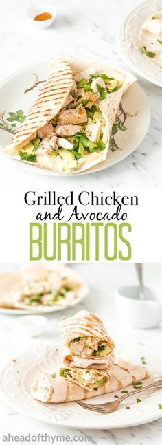 For something quick and satisfying, grilled chicken and avocado burritos are the kind of creamy, gooey goodness with a bit of a crunch that you will want to make over and over again. So serve this up at your Cinco de Mayo party or at your next get-together, and even the pickiest of eaters will ask for more! | AHEADOFTHYME.COM