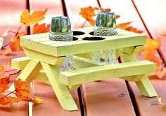 Picnic Table Condiment Caddy Salt Pepper Mustard Ketchup Holder Rustic Yellow