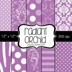 Instant Download Digital Papers Radiant Orchid Pantone Spring 2014 - 10 papers for Personal and Small Commercial Use by HeadsUpGirlsGraphics, $3.00