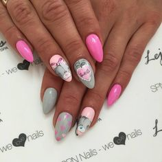 ) colour 322 Hottie & 312 Light grey with 583 Scarlet letter used in this by: Alesia - Salon Lejdis, Team Poland Chorme Nails, Nail Manicure, Swag Nails, Pink Nails, Acrylic Nails, Fancy Nails, Cute Nails, Pretty Nails, Valentine Nail Art