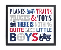 Planes trains trucks and toys Little Boys wall Art blue gray