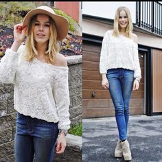 Skinny jeans lace-up wedges beautiful sweater. Love everything here but the hat