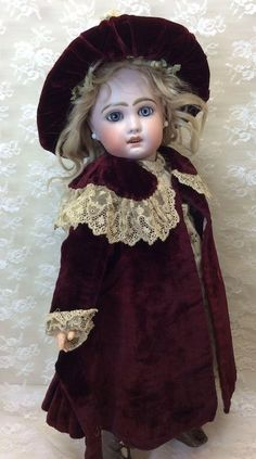 3 Pc Antique French Velvet Coat Dress & Hat Jumeau Steiner Eden Bebe Bisque Doll