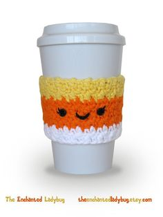 Ravelry: Candy Corn Coffee Cup Cozy pattern by The Enchanted Ladybug Crochet Coffee Cozy, Coffee Cup Cozy, Crochet Cozy, Crochet Crafts, Crochet Projects, Free Crochet, Coffee Cups, Hot Coffee, Frozen Coffee