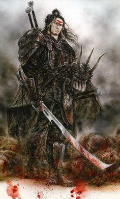 File:Luis royo fantasy dead moon phi stars picture samurai bloody armor.png