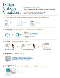 Design Critique Cheatsheet - Simple ways to evaluate a design