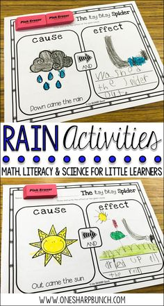 Learn all about rain this spring with over 35 rain activities for kids, including a rain experiment, water cycle experiment, weather crafts, Itsy Bitsy Spider activities, Cloudy with a Chance of Meatballs craft and lessons, and so many more weather activities perfect for a rainy day! Use this with your prek, Kinder, first, or second graders in your classroom or home school. Use it during your weather science lessons or during spring. #Science #SpringWeather Rainy Day Activities For Kids, Weather Activities, Spring Activities, Kindergarten Readiness, Kindergarten Classroom, Classroom Ideas, Esl, 2nd Grade Activities, Weather Crafts
