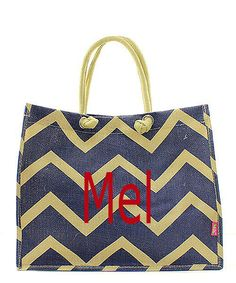 Monogrammed Jute Navy chevron hand bag/Purse/tote/diaper bag by sewsassybootique on Etsy Navy Chevron, Large Tote, Travel Bag, Jute, Louis Vuitton Damier, Diaper Bag, Purses And Bags, Monogram, Handbags