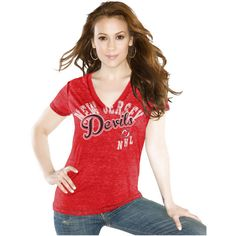 Touch by Alyssa Milano New Jersey Devils Women's Touch Kickstart V-Neck Burnout T-Shirt - Red - $23.74