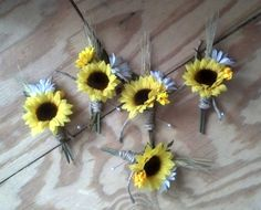 Bridal party accessories grooms boutonniere, groomsmen buttonholes, silk Sunflower Wedding Flowers, country weddings, faux artificial. $32.85, via Etsy.