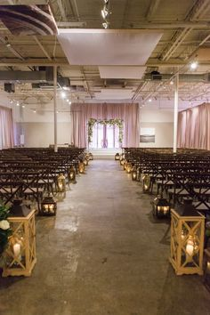 Indoor Rustic-Industrial Ceremony | Photo: Vue Photography.