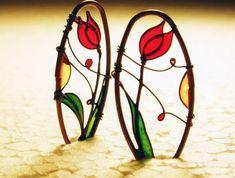 Red Tulip Earrings. Dangle Earrings. Dark Copper by KUKLAstudio