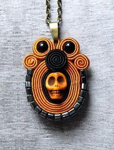 Haloween soutache necklace pendant skull necklace.halloween pendants  #pendant #halloween www.loveitsomuch.com