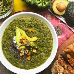 Healthy And Hearty Green Super Soup Recipe by Tasty Soup Recipes, Cooking Recipes, Healthy Recipes, Bread Recipes, Clean Eating, Healthy Eating, Nigella Seeds, Spiced Nuts, Kale And Spinach