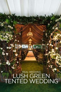 Lush green tented wedding
