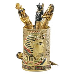 Embellished with a stately pharaoh, ancient hieroglyphics and scenes of ancient Egypt, our quality designer resin exclusive is hand-painted in the royal hues of the Egyptian palette. On a desk or credenza, this regal cup is always at your service. Egyptian Temple, Egyptian Pharaohs, Ancient Egyptian Art, Egyptian Eye, Egyptian Tattoo, Egyptian Home Decor, Egyptian Decorations, Egyptian Furniture, Red Color Schemes