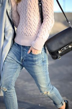 Happily Grey | Blush sweater and distressed denim