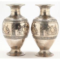 Pair of Italian Silver Palace Size Vases Sold $6,500
