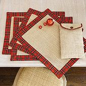 Suzanne Kasler Set of 4 Burlap & Red Plaid Placemats OR homemade version Quantity= 12 Christmas Placemats, Christmas Sewing, Christmas Crafts, Christmas Decorations, Xmas, Christmas 2019, Burlap Crafts, Fabric Crafts, Sewing Crafts
