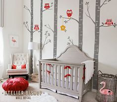 Red owl nursery tree with leaves and cute by AtelierBishop on Etsy