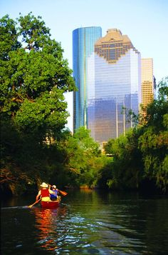 Kayaking Buffalo Bayou in Houston TX they had to out the people in kayak in cowboy hats