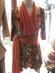 Butterfly print Swing top with Orange crinkle tie sash and Orange Infinity scarf.