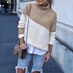 Fashion 2019 Patchwork Turtleneck Pullover Women Knitwear Autumn Winter Sweaters And Pullovers Casual Knitted Jumper Casual Sweaters, Winter Sweaters, Cozy Sweaters, Pullover Sweaters, Sweaters For Women, Sweater Weather, Brunch Outfit, Street Style Outfits, Fashion Outfits
