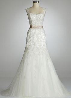 davids bridal weddings dress, lace   123325 Davids Bridal Wedding Dress Cap Sleeve Beaded Lace Mermaid ...
