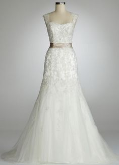 davids bridal weddings dress, lace | 123325 Davids Bridal Wedding Dress Cap Sleeve Beaded Lace Mermaid ...