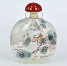 CHINESE TRADITIONAL HANDMADE INSIDE PAINTING GLASS SNUFF BOTTLES <BIRD DESIGN>