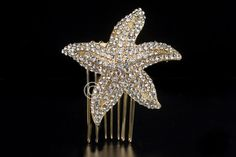 Pave Crystal Starfish Wedding Hair Comb