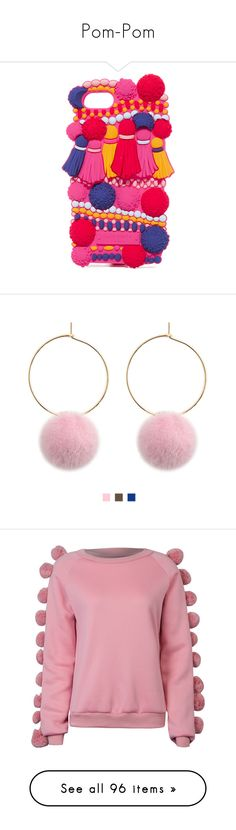 """""""Pom-Pom"""" by gloria-3789 ❤ liked on Polyvore featuring accessories, tech accessories, iphone cases, kate spade, iphone cover case, kate spade iphone case, apple iphone case, jewelry, earrings and charm earrings"""