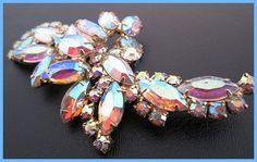 Rhinestone Bridal Brooch Pin Aurora by BrightgemsTreasures on Etsy, $34.50