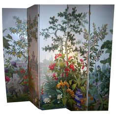 Zuber 5 Panel Wallpaper Screen. France, 20th century.