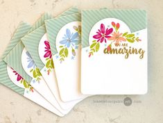 Today we have a video from Guest Artist Jennifer McGuire . Jennifer is well known for her clever techniques (almost as much as for. Card Making Inspiration, Making Ideas, Creative Inspiration, Jennifer Mcguire Ink, Happy Wishes, Card Tutorials, Card Sketches, Card Tags, Flower Cards