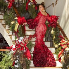 A Harvey Holiday - We're Convinced Steve and Marjorie Harvey Had the Most Glamorous Holiday Celebration Majorie Harvey, Red Gowns, Glamour, Event Dresses, Posh Dresses, Holiday Photos, Christmas Photos, Christmas Stuff, Up Girl