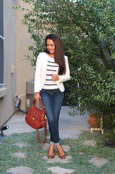 Casual stripes, white blazer & leopard | StylishPetite.com