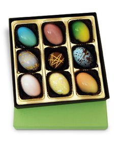 "Elegant Eggs: With rich flavors like white raspberry and Tahitian caramel, consider the ""Easter egg"" reinvented in the form of these gourmet chocolate goodies. Chocolate Work, Chocolate Brands, Chocolate Heaven, Chocolate Shop, Easter Chocolate, Chocolate Truffles, Delicious Chocolate, Hoppy Easter, Easter Eggs"