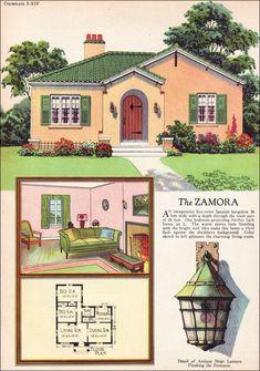 The Zamora - 1927 American Builder - Spanish Revival Spanish Revival Home, Spanish Colonial Homes, Colonial House Plans, Spanish Style Homes, Spanish House, Colonial Cottage, Colonial Exterior, Colonial Art, Colonial Kitchen